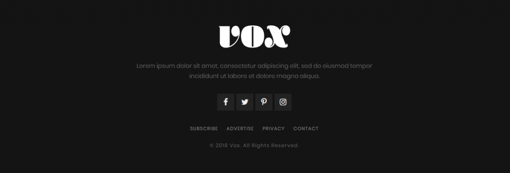 Vox theme footer bottom style 5